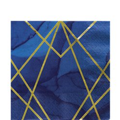 Geode Navy and Gold Foil Paper Napkin - 33cm