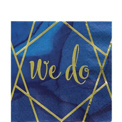 "Geode ""We Do"" Navy and Gold Foil Paper Napkin - 33cm"