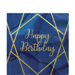 Happy Birthday Navy & Gold Geode Napkins