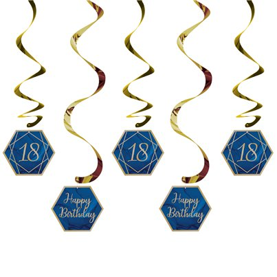 18th Navy & Gold Geode Birthday Hanging Swirls