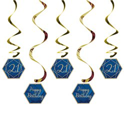 21st Navy & Gold Geode Birthday Hanging Swirls