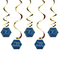 70th Navy & Gold Geode Birthday Hanging Swirls