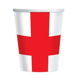 St George's England Flag Paper Cups - 226ml