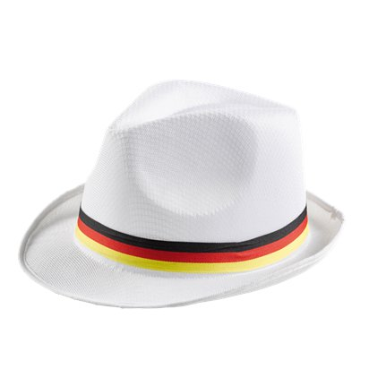German Euro Cup White Trilby Hat - International Party Supplies front