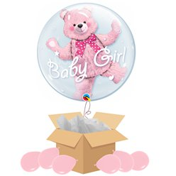 Baby Girl Double Bubble Balloon - Delivered Inflated