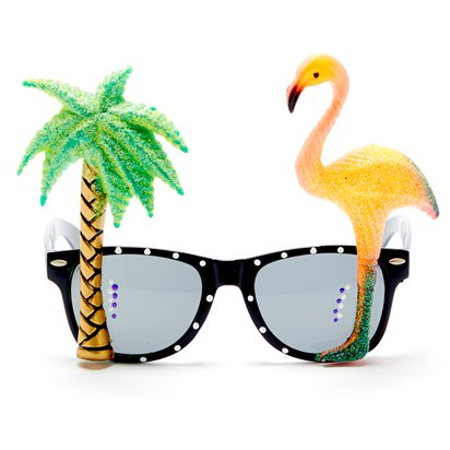 Flamingo Palm Tree Glasses - Summer Festival Novelty Glasses - Fancy Dress Accessory  front