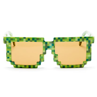 Green Pixilated Glasses - TNT Minecraft Novelty Glasses - Fancy Dress Accessory  front