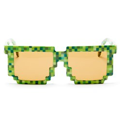 Green Pixilated Glasses