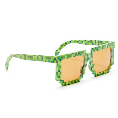 Green Pixilated Glasses - TNT Minecraft Novelty Glasses - Fancy Dress Accessory  left