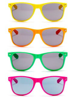 80s Neon Wayfarer Glasses - Assorted Colours