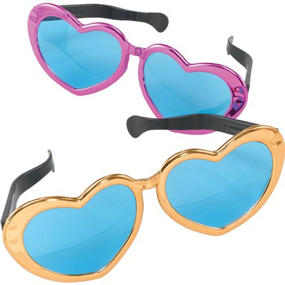 Jumbo Heart Shaped Glasses - Assorted Colours - Funny Glasses - Fancy Dress Accessories front