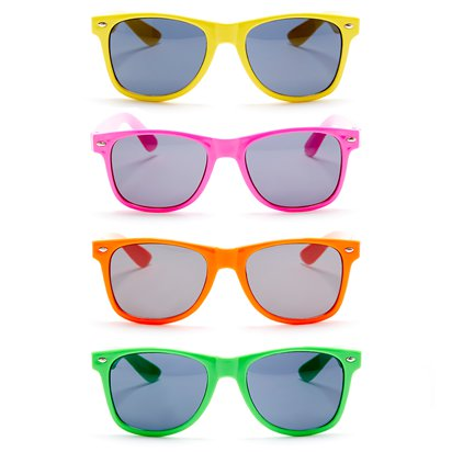 80's Neon Wayfarer Glasses - Assorted Colours - 80's Fancy Dress Accessories front