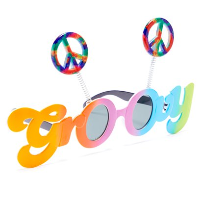 Groovy 60's Glasses - Funny Glasses - Fancy Dress Accessories left