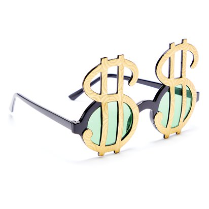 Dollar Sign Glasses - Festival Glasses left