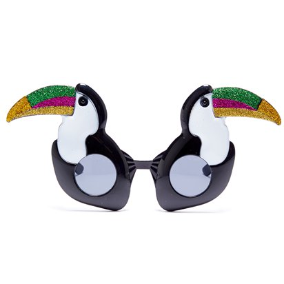 Glitter Toucan Novelty Glasses - Hawaiian Party Sunglasses front