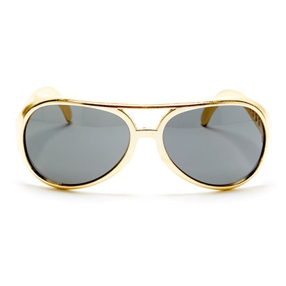 Gold Elvis Glasses - Mens Fancy Dress Accessory front