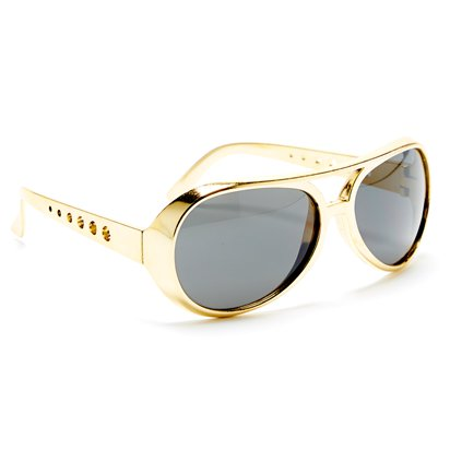 Gold Elvis Glasses - Mens Fancy Dress Accessory left