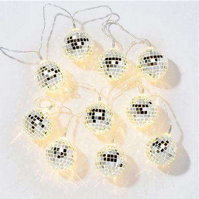 Christmas & New Year 10 Disco Ball Lights - 1.35m