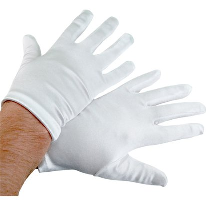 Deluxe White Satin Santa Gloves - Adult Christmas Fancy Dress Accessory - One Size front