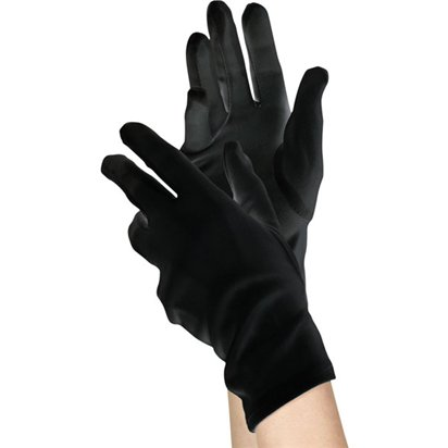 Womens Short Black Gloves - 80's Fancy Dress Accessories front