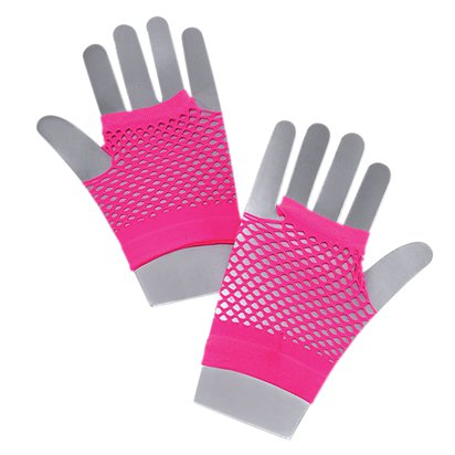 Neon Pink Fishnet Gloves - 80's Fancy Dress Costume Accessories front