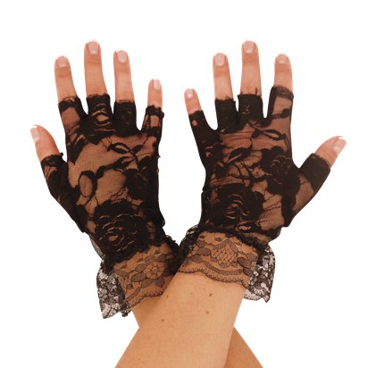 Black Fingerless Lace Gloves - 80's Fancy Dress Costume Accessories front