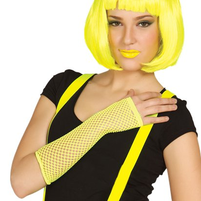 Yellow Fishnet Gloves - 80's Fancy Dress Costume Accessories front