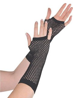 Long Black Fishnet Gloves