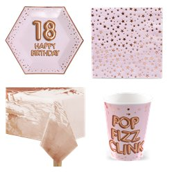 18th Glitz & Glamour Birthday Party Pack - Value Pack For 8