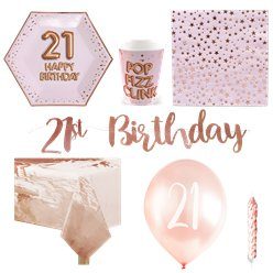 21st Glitz & Glamour Birthday Party Pack - Deluxe Party Pack For 8