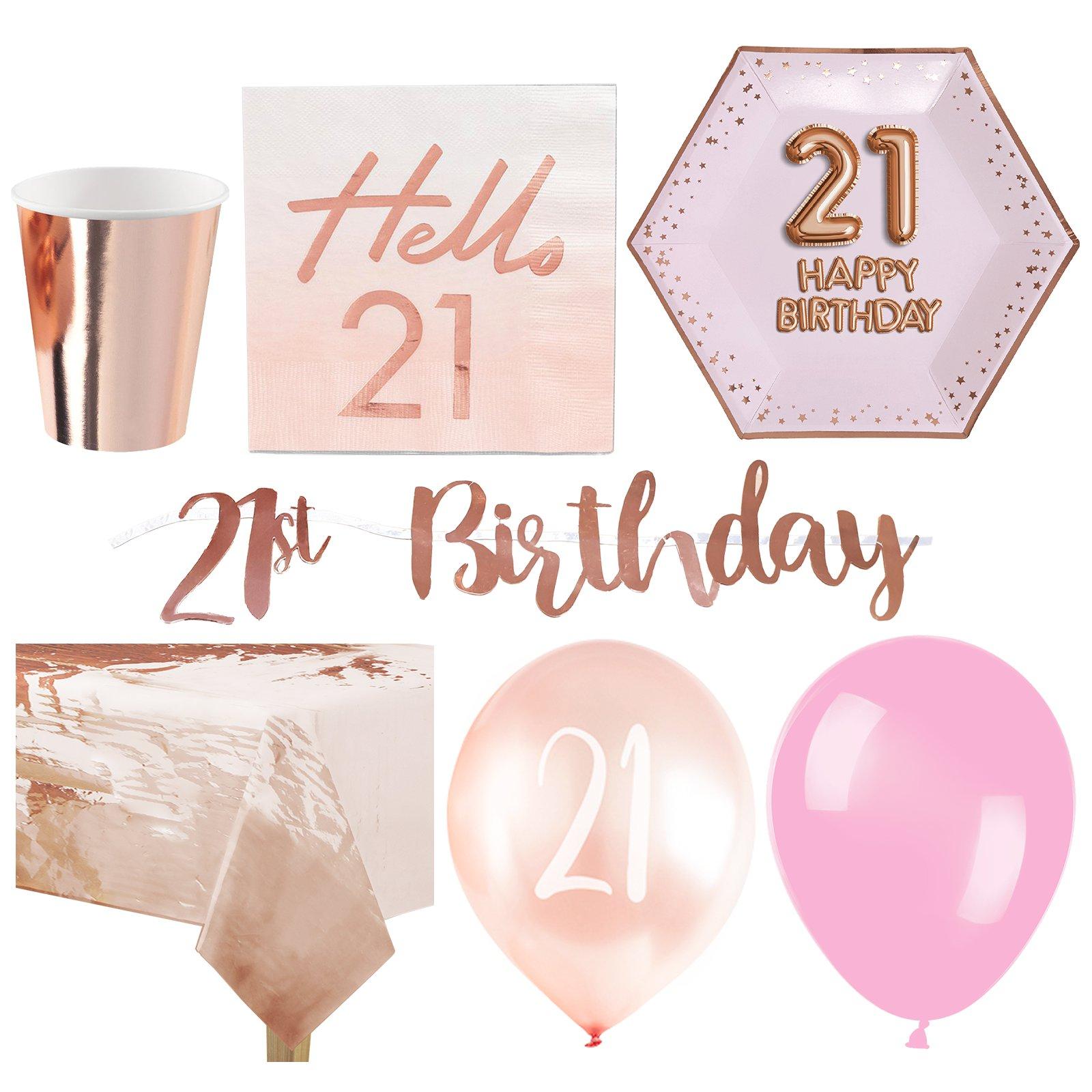Glanz & Glamour 21. Geburtstag - Premium Party-Set - Für 16 Personen | Niedriger Preis  | Zu verkaufen