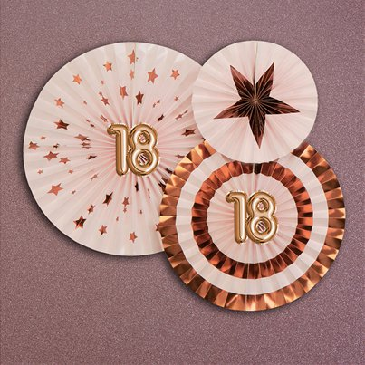 18th Glitz & Glamour Birthday Pinwheel Fans