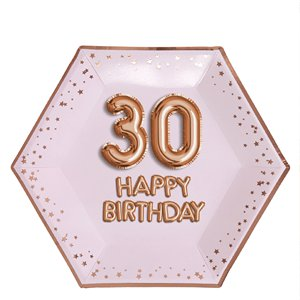 30th Glitz & Glamour Birthday Paper Plates - 26cm