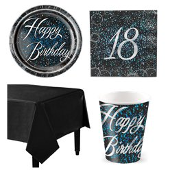 18th Blue Glitz Party Pack - Value Pack for 8