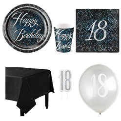 18th Blue Glitz Party Pack - Deluxe Pack for 8