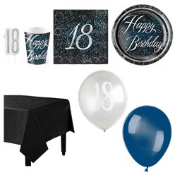 18th Blue Glitz Party Pack - Deluxe Pack for 16