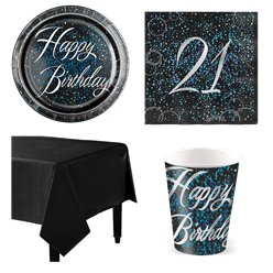 21st Blue Glitz Party Pack - Value Pack for 8