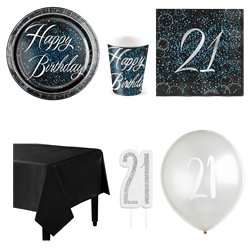 21st Blue Glitz Party Pack - Deluxe Pack for 8