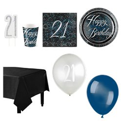 21st Blue Glitz Party Pack - Deluxe Pack for 16