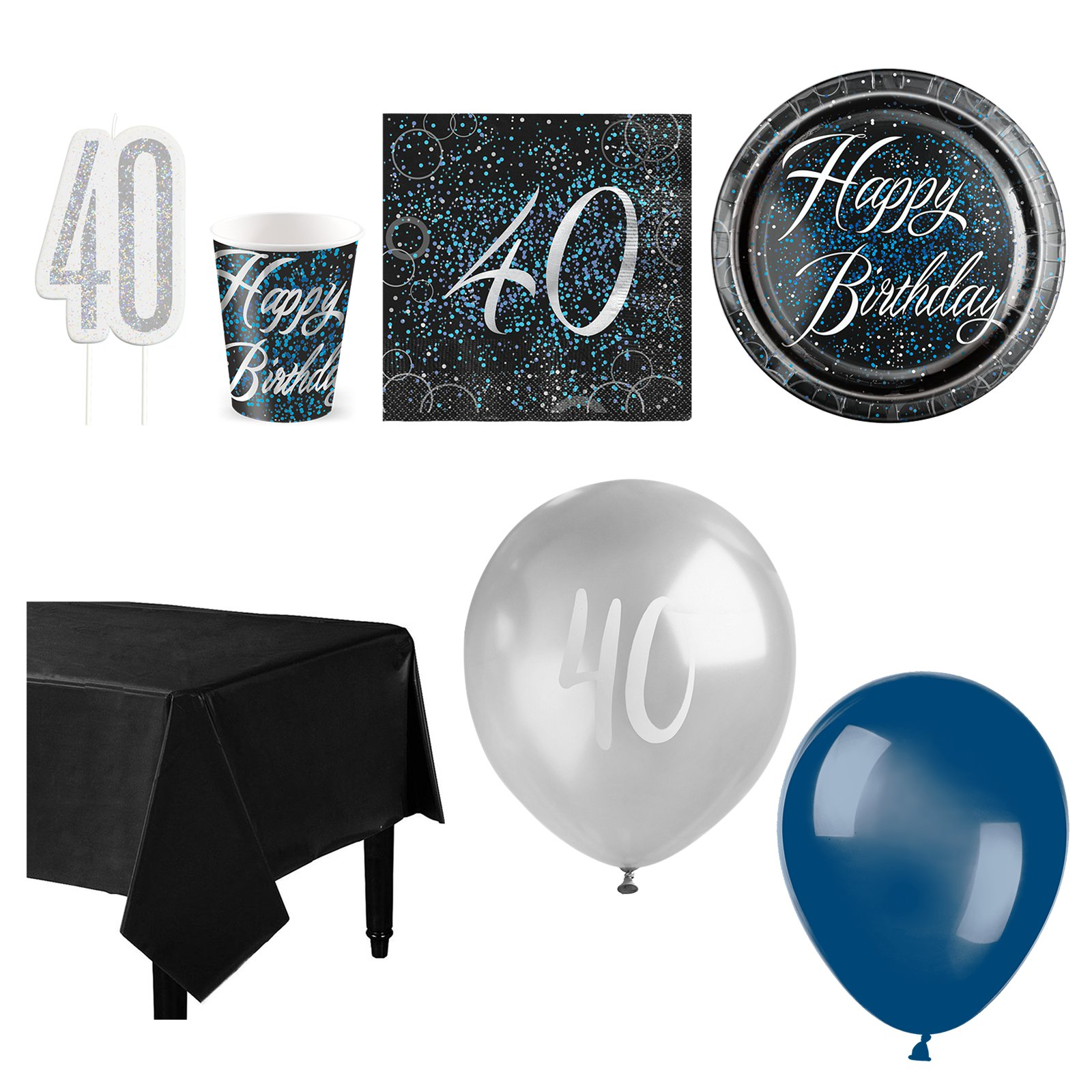 40th Birthday Blue Glitz Party Supplies Deluxe Table