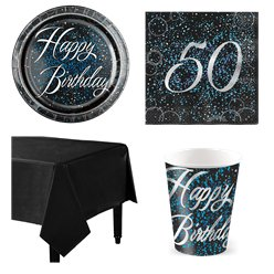 50th Blue Glitz Party Pack - Value Pack for 8