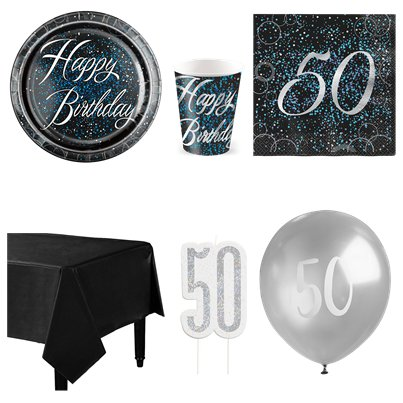 50th Blue Glitz Party Pack - Deluxe Pack for 8