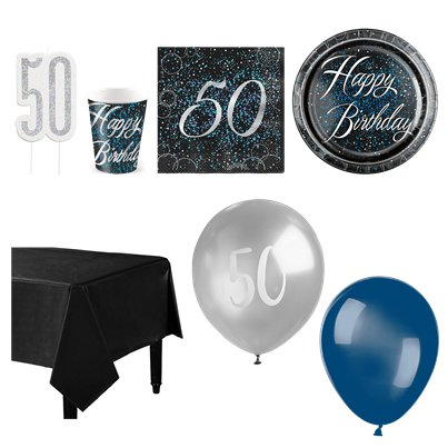 50th Blue Glitz Party Pack - Deluxe Pack for 16