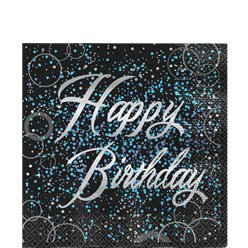 Blue Glitz Happy Birthday Lunch Napkins