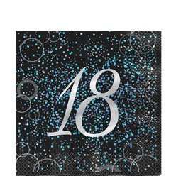 18th Blue Glitz Lunch Napkin - 33cm