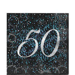 50th Blue Glitz Lunch Napkins - 33cm