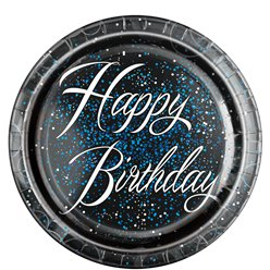 Blue Glitz Happy Birthday Plates - 22cm