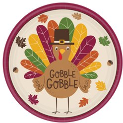 Gobble Gobble Thanksgiving Plate - 25cm