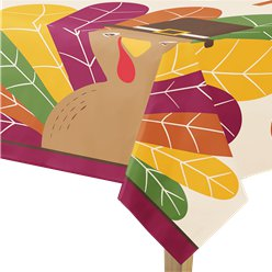 Gobble Gobble Thanksgiving Plastic Table Cover