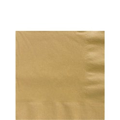 Gold Beverage Napkins - 25cm Square 2ply Paper